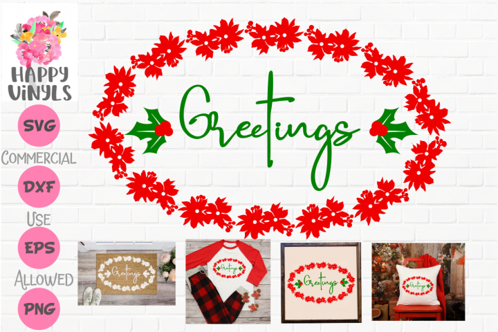 Christmas Greetings with Holly SVG Cut File for Crafters