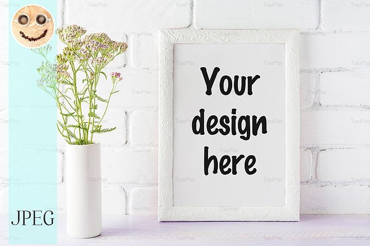 White frame mockup with creamy pink flowers in cylinder vase