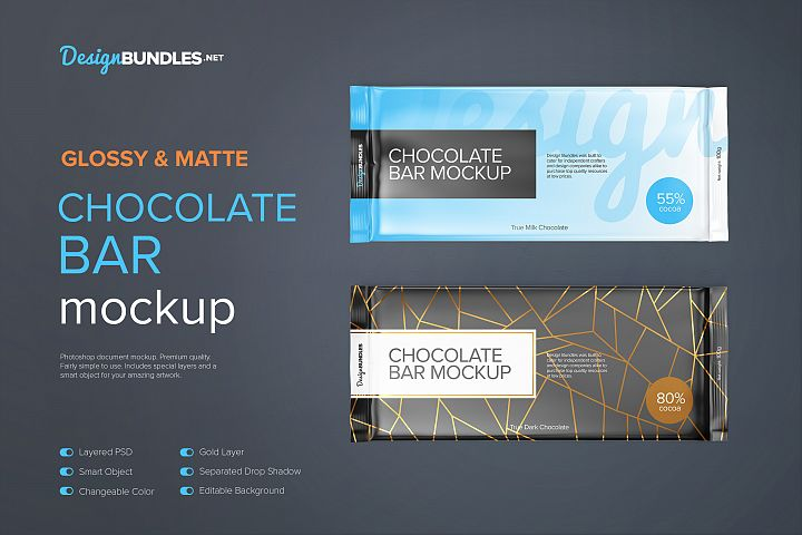 Glossy and Matte Chocolate Bar 100g - Top View