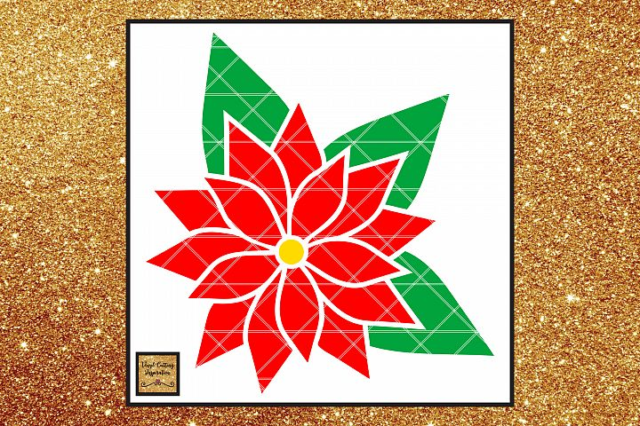 Christmas Svg, Poinsettia Flower Template, Flower svg dxf
