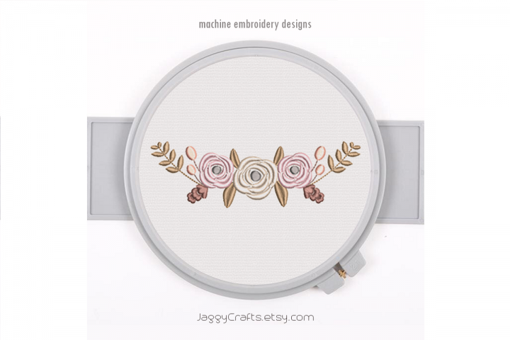 Half Floral Wreath Monogram Frame Decorative Border
