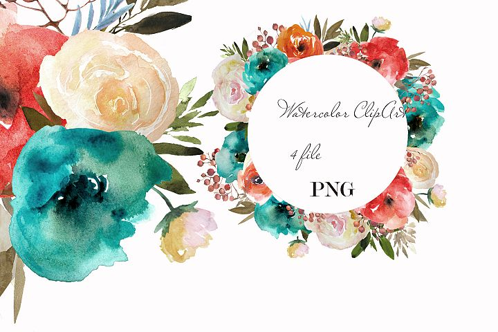 Blue red flowers clipart Watercolor wreath