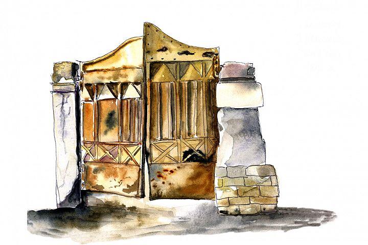 Watercolor sketch of the old, metal doors.