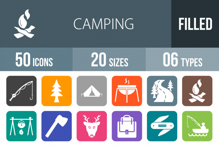 50 Camping Filled Round Corner Icons