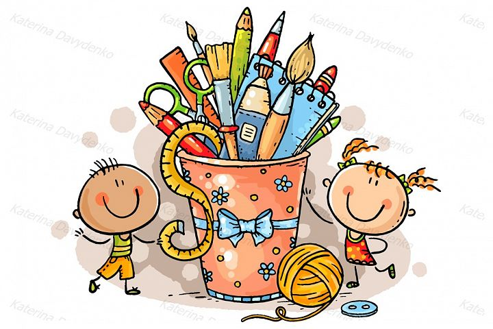 Creative kids with crafting tools