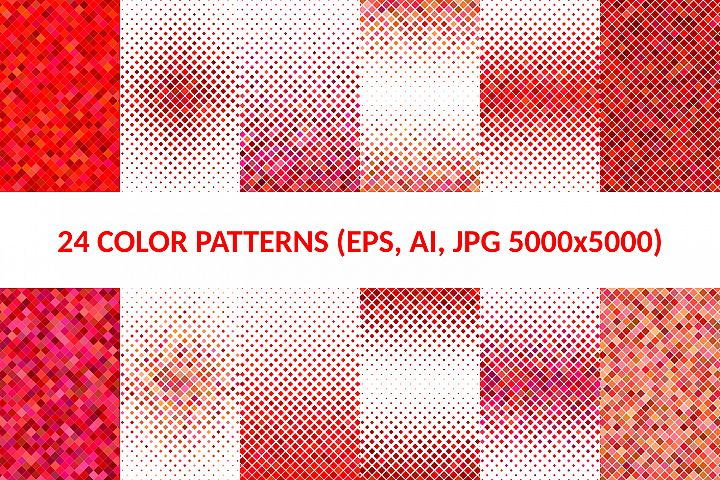 24 Red Square Patterns AI, EPS, JPG 5000x5000