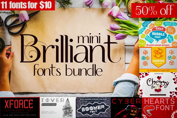 Mini brilliant Font bundle - 11 Creative Fonts