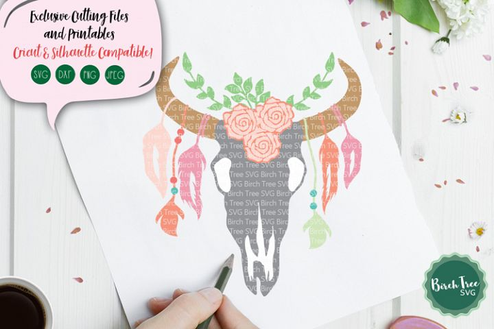 Boho Cow Skull SVG, Feathers Svg, Cow Skull Cut File