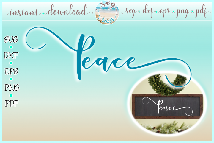 Peace Horizontal Wood Sign SVG Dxf Eps Png PDF