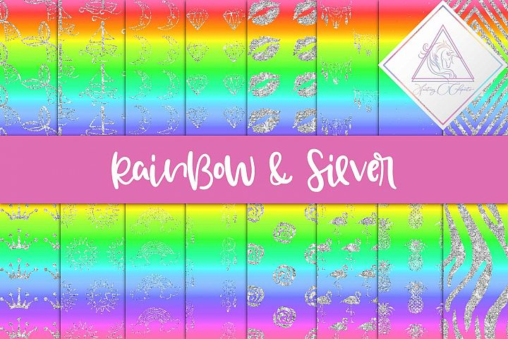 Rainbow & Silver Digital Paper