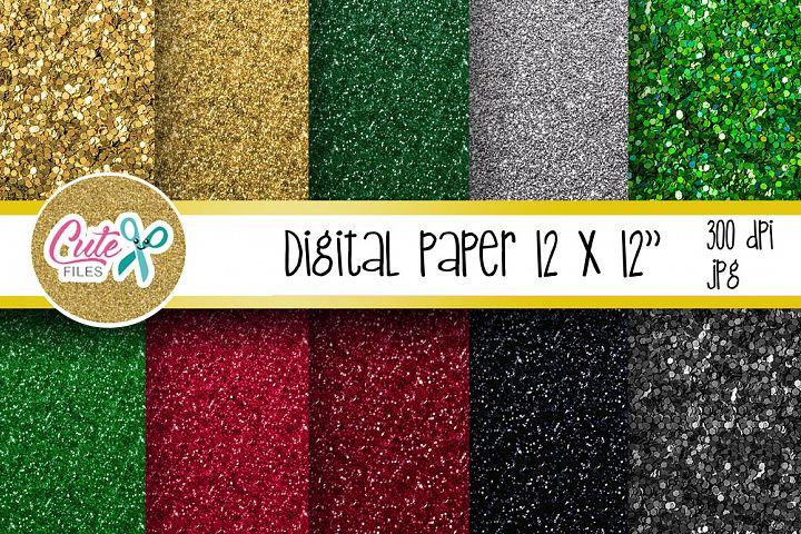 Christmas glitter digital paper for scrapbooking