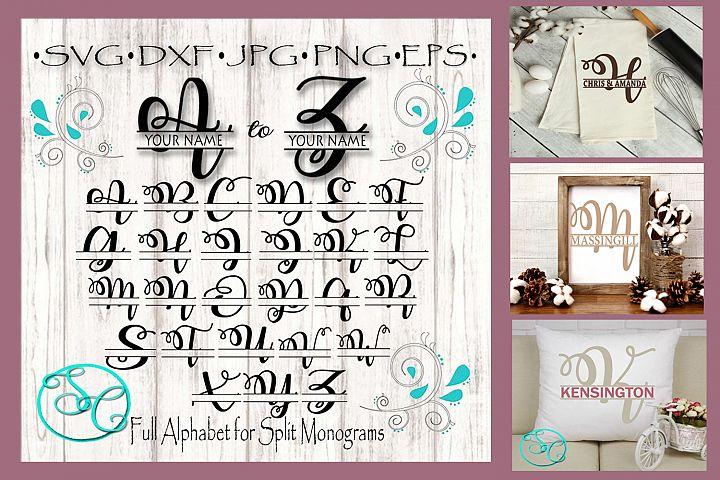SVG Split Monogram Full Alphabet Set