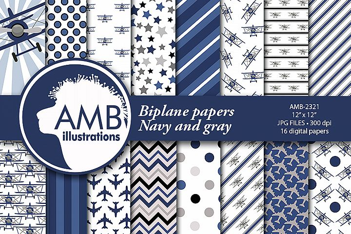 Biplane Patterns, Navy and Gray Papers, AMB-2321