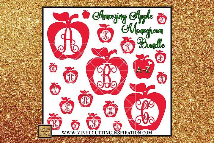 Apple Svg, Teacher Appreciation Svg, Monogram Bundle Svg