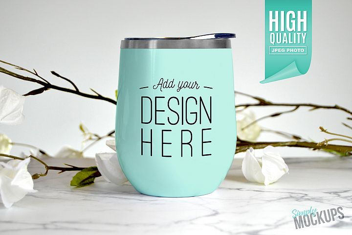 Mint 12oz Wine Tumbler Mockup