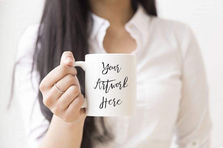 White mug mockup-woman holding mug