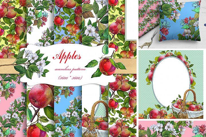 APPLES Seamless Patterns .Apple Digital Paper