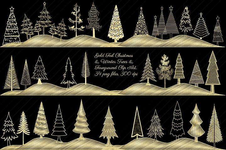 Christmas Gold Foil Trees Clip Art