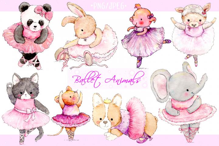 Watercolor Ballet Animals | 8 Clip Art Illustrations-PNG/JPG