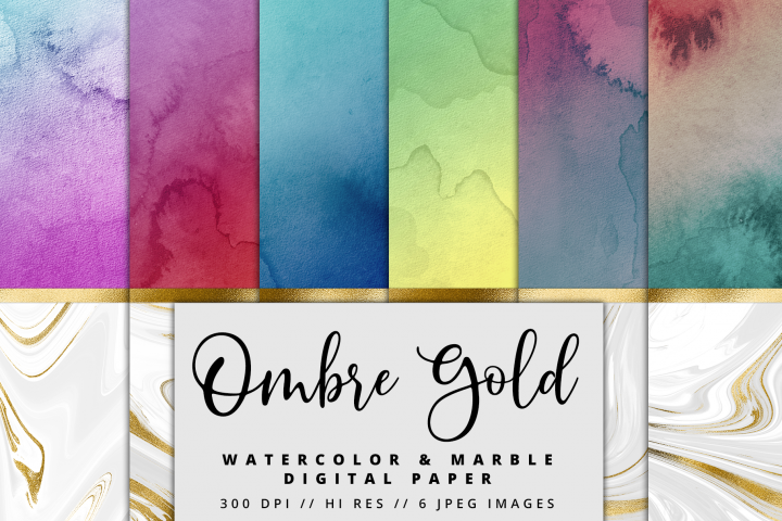 Ombre Gold Marble Watercolor Foil Textures | 6 Pack