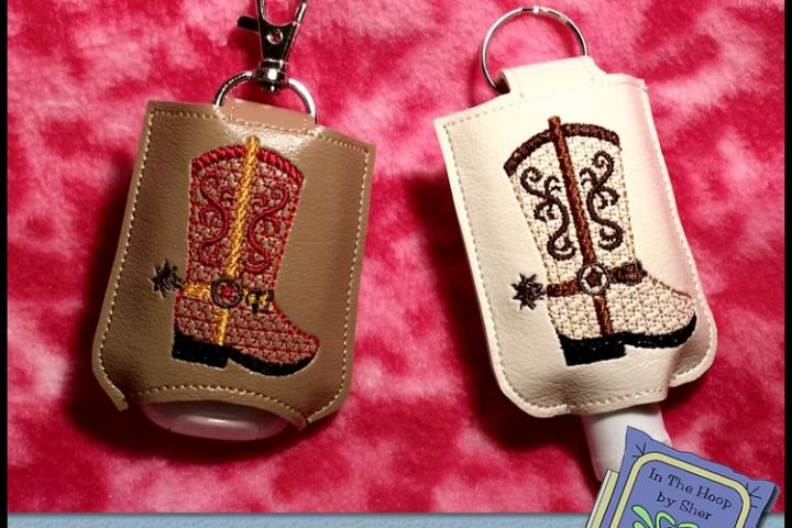 ITH Cowboy Boot Hand Sanitizer Holder - Key Fob or Bag Tag