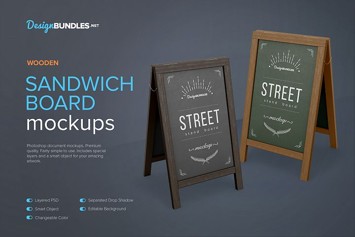 Wooden Sandwich Board Mockups
