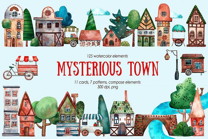 Mysterious Town - Watercolor Clip Art Set