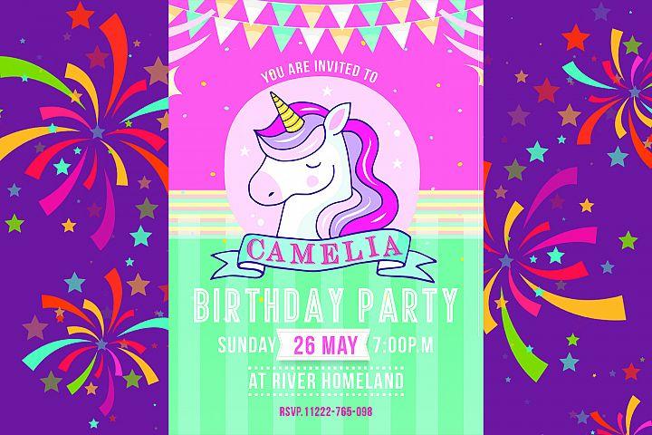 Kids Unicorn Birthday Invitation Card