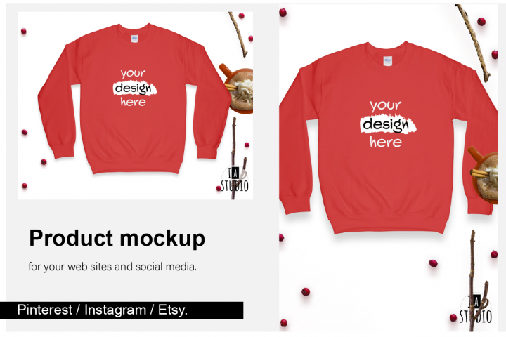 Christmas Sweatshirt Mockup / Gildan 18000 Red / Flat Lay