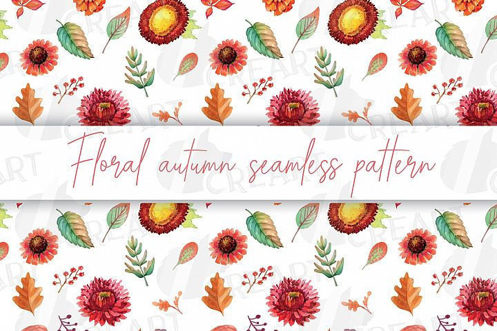 Floral autumn seamless pattern. Watercolor fall leaves decor