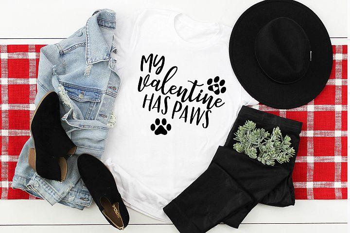 My Valentine Has Paws Svg, Dog Valentine Svg, Cricut