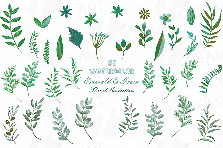 Emerald and green branches watercolor clip art pack, leafs
