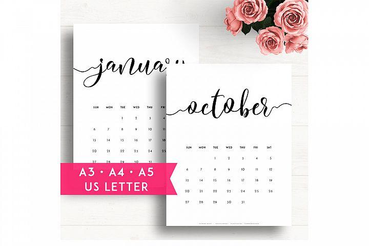 2019 Printable Wall Calendar A3 A4 A5 Us Letter