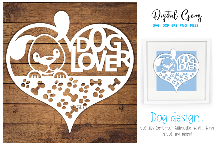 Dog lover paper cut design SVG / DXF / EPS / PNG files