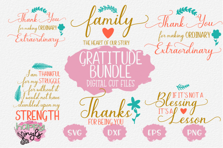 Gratitude Bundle - An SVG Digital Cut File Bundle