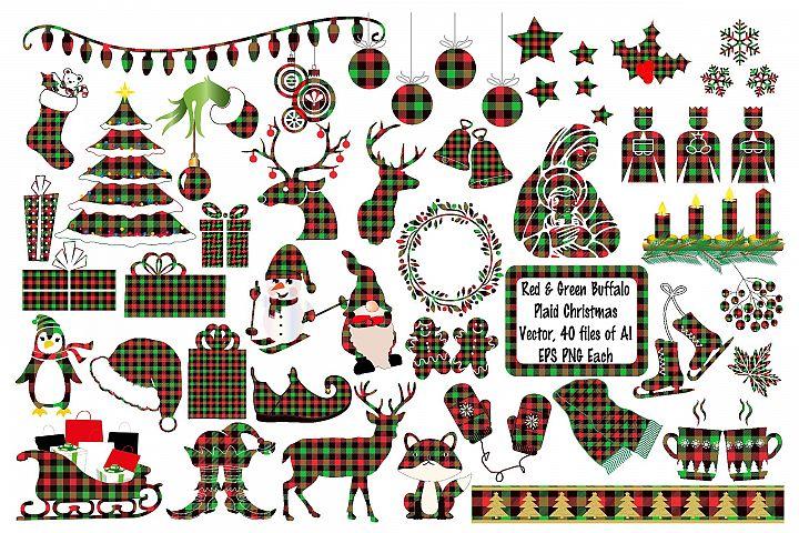 Christmas Buffalo Plaid Elements Deer AI EPS Vecor & PNG