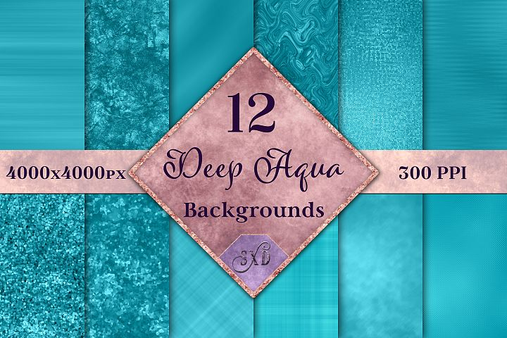Deep Aqua Backgrounds - 12 Image Textures Set