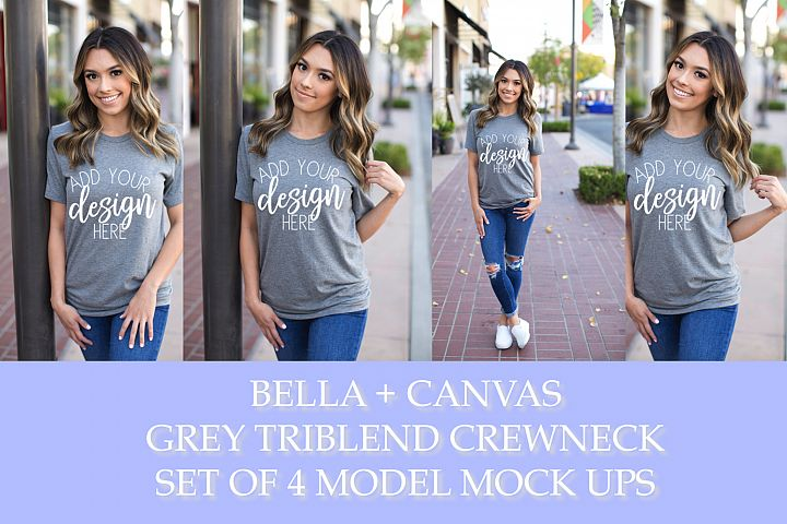 BELLA 3413C GREY TRIBLEND CREWNECK MODEL MOCKUP - SET OF 4