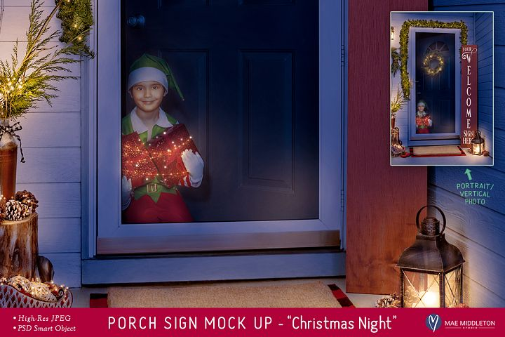 Porch Sign Christmas mock up - Christmas Night