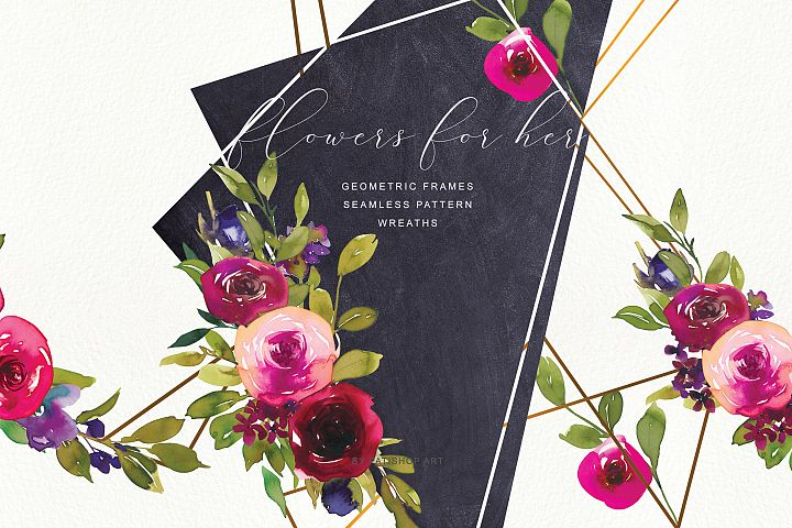 Watercolor Rose Frame & Wreath Collection
