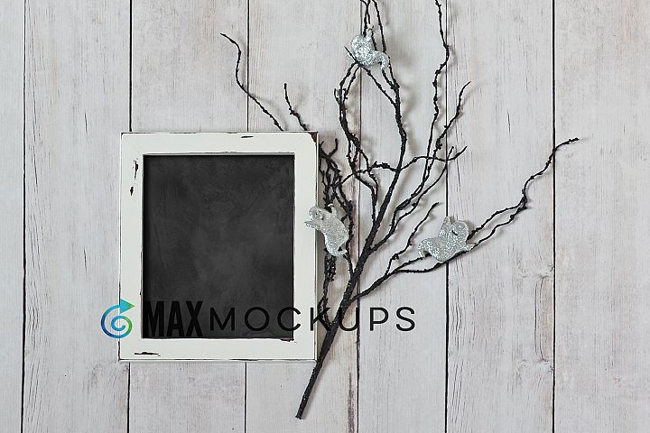 White Framed Chalkboard Mockup, Halloween pumpkins, ghosts