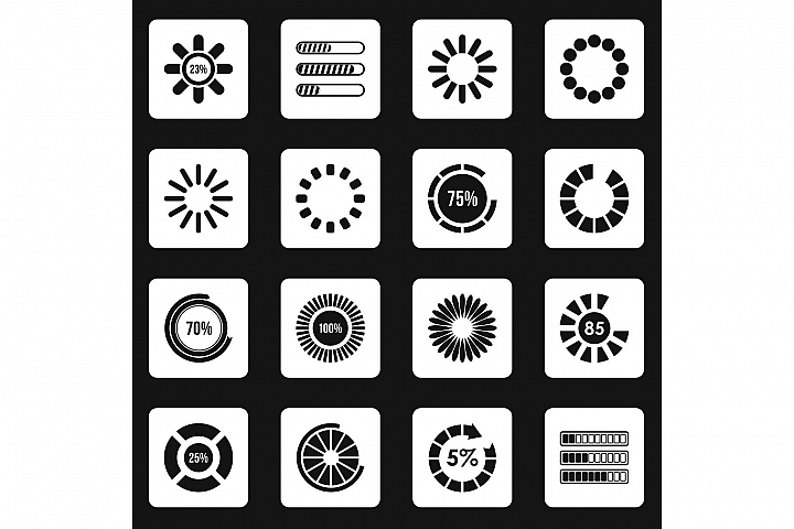 Loading bars and preloaders icons set squares