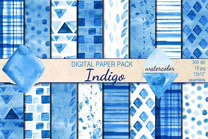 Watercolor Geometric Indigo seamless digital paper pack
