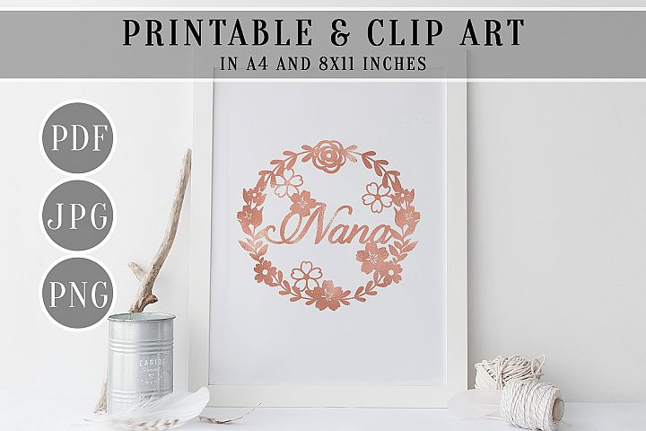 Nana Rose Foil Wreath Printable, Clip Art, Home Decor, PDF