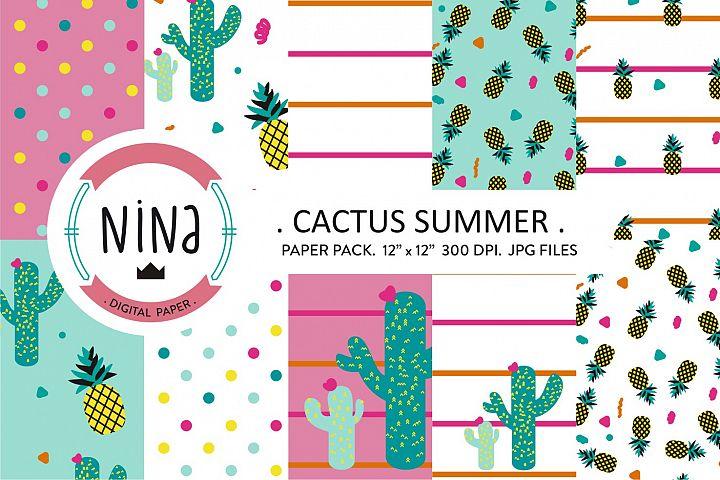 Cactus digital paper, pineapple printable paper, cute cactus