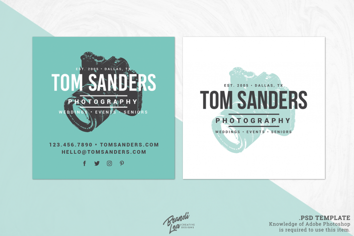 Square Photography Business Card Template