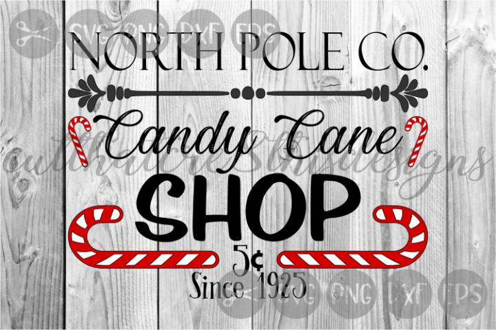 North Pole, Candy Cane Shop, Vintage, Cut File, SVG.