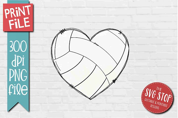 Volleyball Doodle Heart Sublimation Design PNG