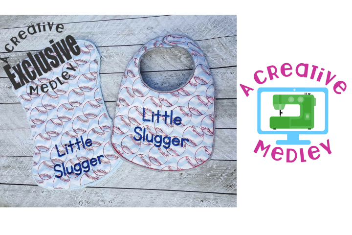 Baseball Bib and Burp Cloth for 7x12 and larger hoops