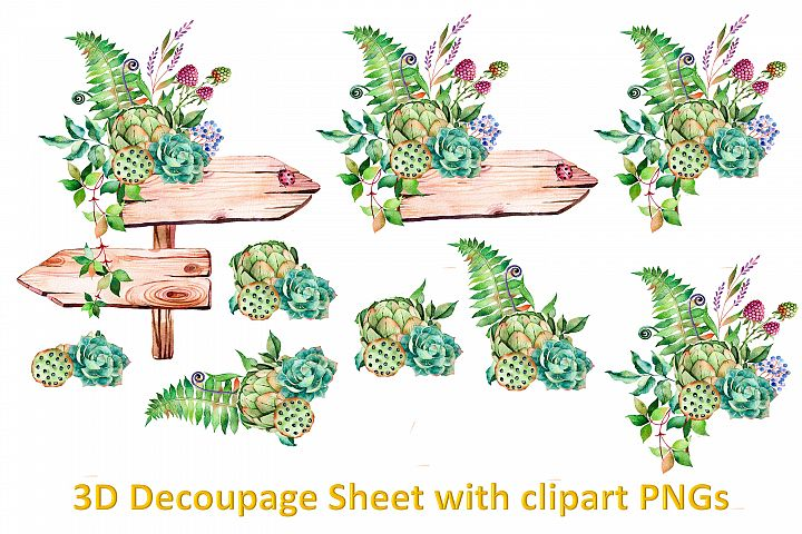 Floral Decoupage sheet or collage sheet. Printable and PNGs